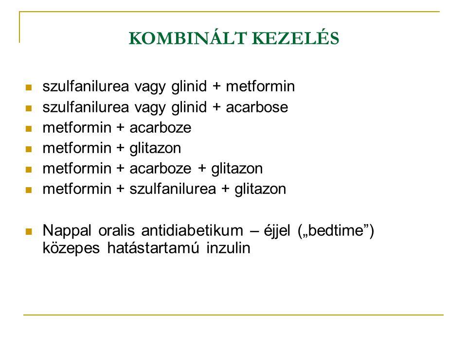 KOMBINÁLT KEZELÉS szulfanilurea vagy glinid + metformin szulfanilurea vagy glinid + acarbose metformin + acarboze metformin + glitazon metformin + aca