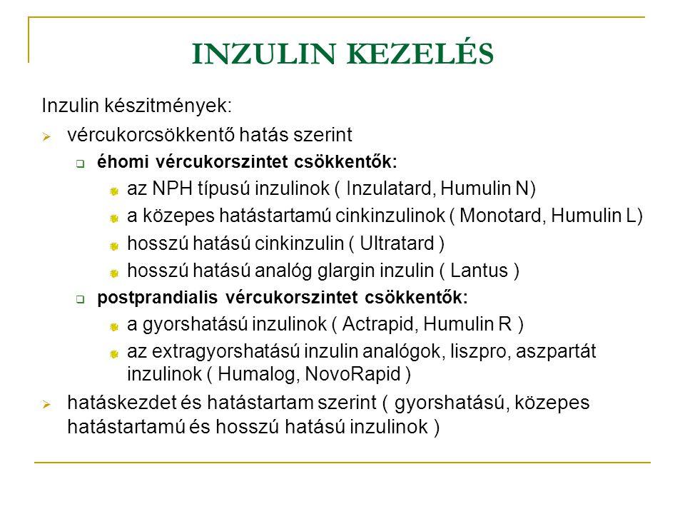 INZULIN KEZELÉS Inzulin készitmények:  vércukorcsökkentő hatás szerint  éhomi vércukorszintet csökkentők: az NPH típusú inzulinok ( Inzulatard, Humu