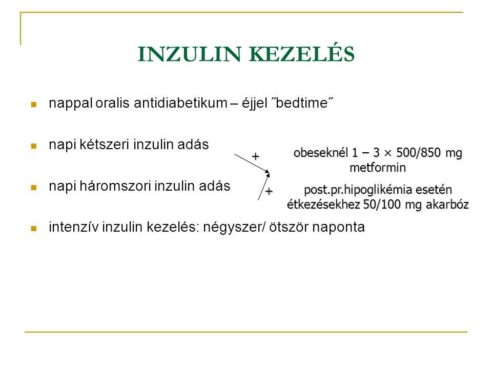 INZULIN KEZELÉS nappal oralis antidiabetikum – éjjel ˝bedtime˝ napi kétszeri inzulin adás napi háromszori inzulin adás intenzív inzulin kezelés: négys