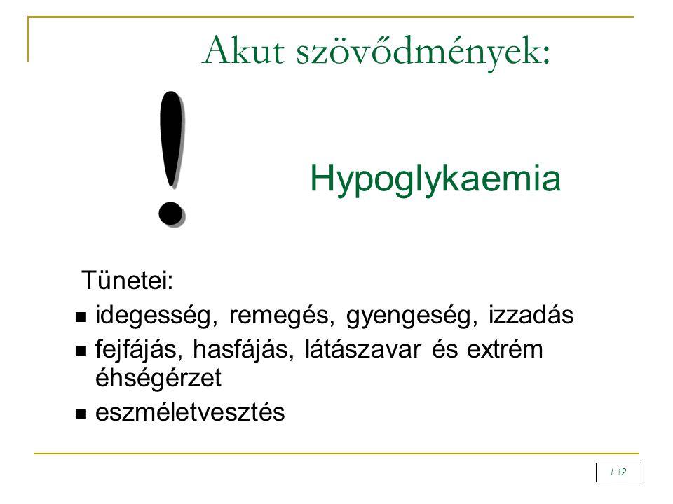Akut szövődmények: Tünetei: idegesség, remegés, gyengeség, izzadás fejfájás, hasfájás, látászavar és extrém éhségérzet eszméletvesztés Hypoglykaemia I