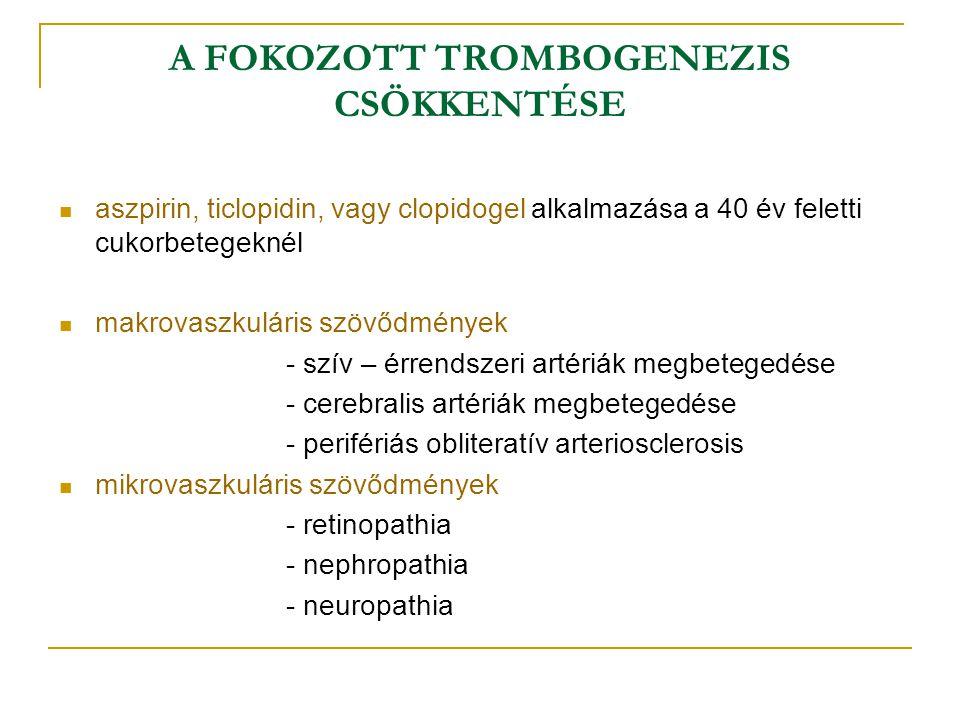 A FOKOZOTT TROMBOGENEZIS CSÖKKENTÉSE aszpirin, ticlopidin, vagy clopidogel alkalmazása a 40 év feletti cukorbetegeknél makrovaszkuláris szövődmények -