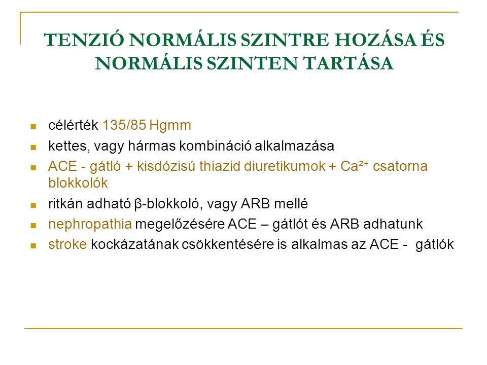 TENZIÓ NORMÁLIS SZINTRE HOZÁSA ÉS NORMÁLIS SZINTEN TARTÁSA célérték 135/85 Hgmm kettes, vagy hármas kombináció alkalmazása ACE - gátló + kisdózisú thi