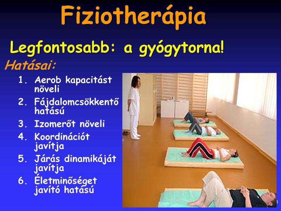 23 Fiziotherápia Hatásai: 1.Aerob kapacitást növeli 2.Fájdalomcsökkentő hatású 3.Izomerőt növeli 4.Koordinációt javítja 5.Járás dinamikáját javítja 6.