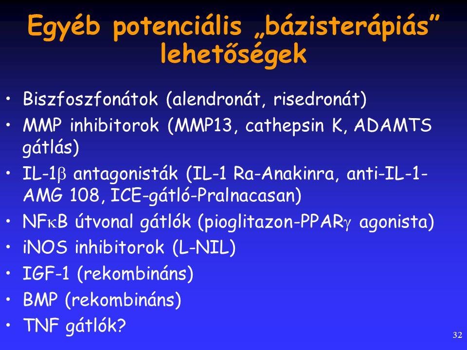 """32 Egyéb potenciális """"bázisterápiás"""" lehetőségek Biszfoszfonátok (alendronát, risedronát) MMP inhibitorok (MMP13, cathepsin K, ADAMTS gátlás) IL-1  a"""