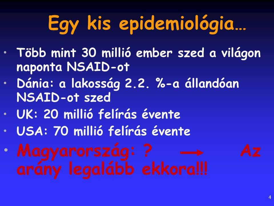 4 Egy kis epidemiológia… Több mint 30 millió ember szed a világon naponta NSAID-ot Dánia: a lakosság 2.2. %-a állandóan NSAID-ot szed UK: 20 millió fe