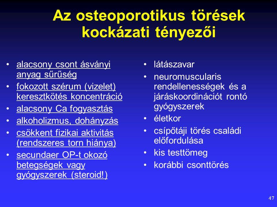 47 Az osteoporotikus törések kockázati tényezői alacsony csont ásványi anyag sűrűség fokozott szérum (vizelet) keresztkötés koncentráció alacsony Ca f