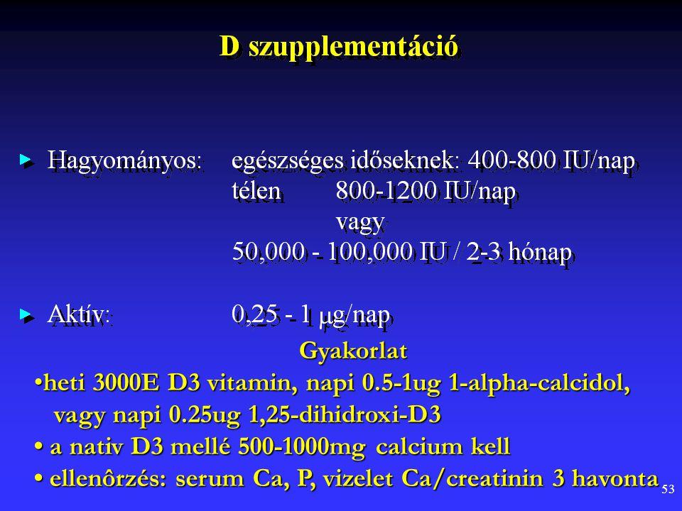 53 Gyakorlat heti 3000E D3 vitamin, napi 0.5-1ug 1-alpha-calcidol, vagy napi 0.25ug 1,25-dihidroxi-D3heti 3000E D3 vitamin, napi 0.5-1ug 1-alpha-calci