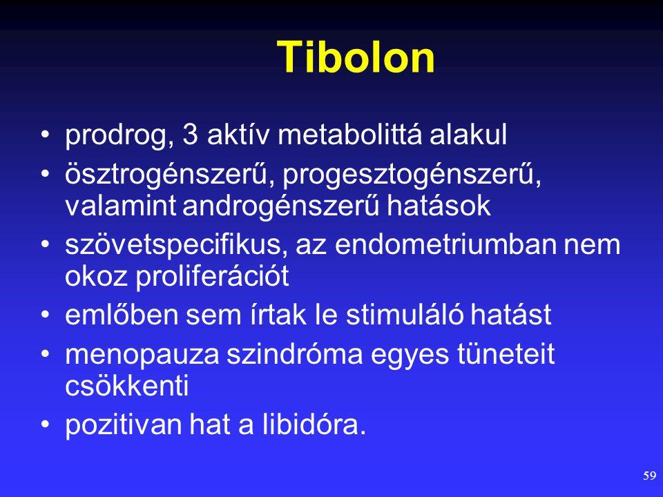 59 Tibolon prodrog, 3 aktív metabolittá alakul ösztrogénszerű, progesztogénszerű, valamint androgénszerű hatások szövetspecifikus, az endometriumban n