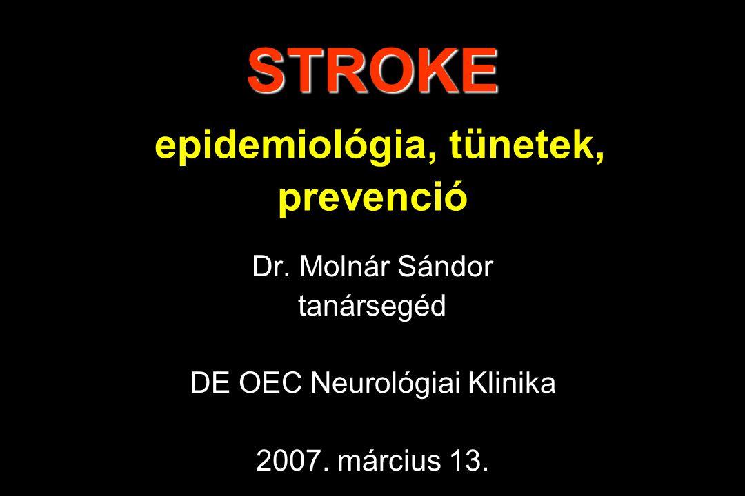 STROKE STROKE epidemiológia, tünetek, prevenció Dr. Molnár Sándor tanársegéd DE OEC Neurológiai Klinika 2007. március 13.