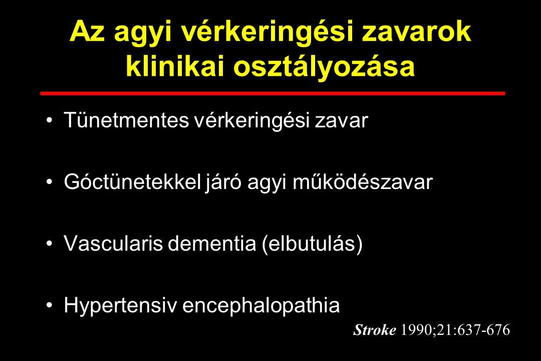 Az agyi vérkeringési zavarok klinikai osztályozása Tünetmentes vérkeringési zavar Góctünetekkel járó agyi működészavar Vascularis dementia (elbutulás)