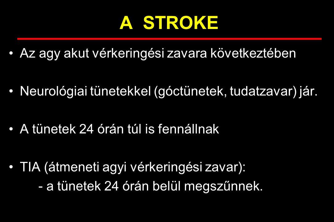 A STROKE Az agy akut vérkeringési zavara következtében Neurológiai tünetekkel (góctünetek, tudatzavar) jár. A tünetek 24 órán túl is fennállnak TIA (á