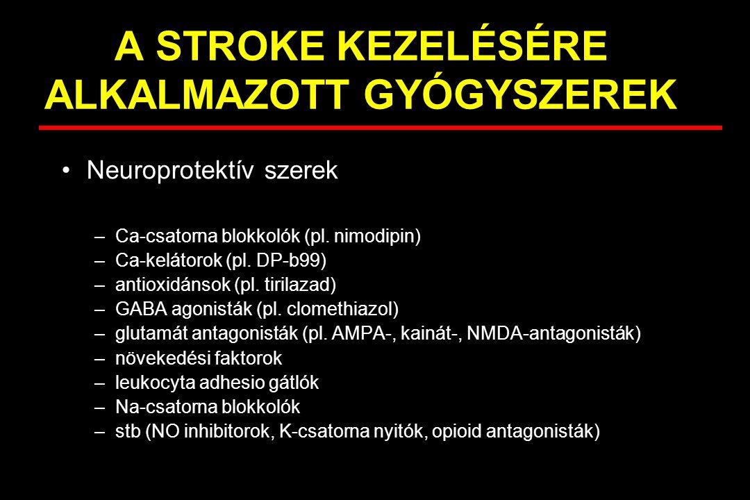 A STROKE KEZELÉSÉRE ALKALMAZOTT GYÓGYSZEREK Neuroprotektív szerek –Ca-csatorna blokkolók (pl. nimodipin) –Ca-kelátorok (pl. DP-b99) –antioxidánsok (pl