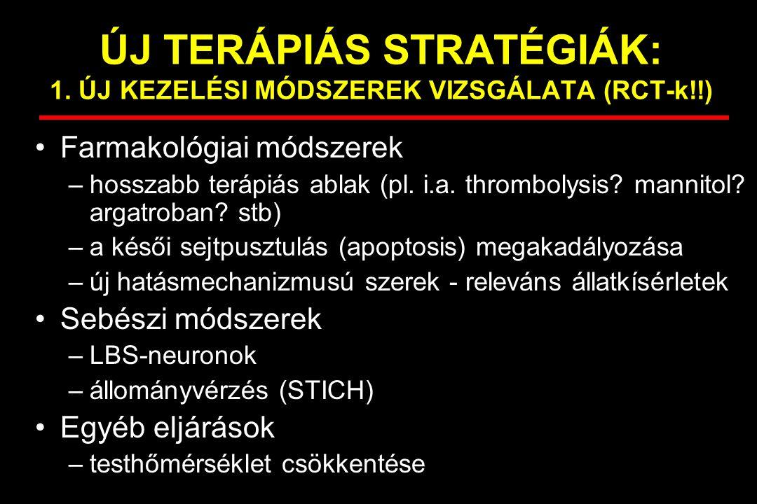 ÚJ TERÁPIÁS STRATÉGIÁK: 1. ÚJ KEZELÉSI MÓDSZEREK VIZSGÁLATA (RCT-k!!) Farmakológiai módszerek –hosszabb terápiás ablak (pl. i.a. thrombolysis? mannito