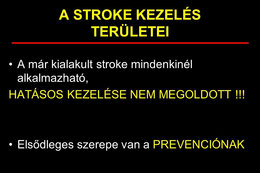 A már kialakult stroke mindenkinél alkalmazható, HATÁSOS KEZELÉSE NEM MEGOLDOTT !!! Elsődleges szerepe van a PREVENCIÓNAK A STROKE KEZELÉS TERÜLETEI