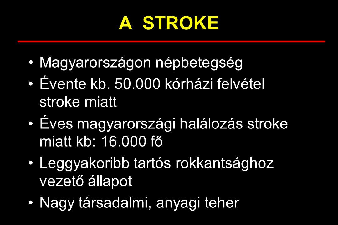 A STROKE Magyarországon népbetegség Évente kb. 50.000 kórházi felvétel stroke miatt Éves magyarországi halálozás stroke miatt kb: 16.000 fő Leggyakori