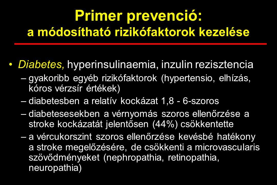 Primer prevenció: a módosítható rizikófaktorok kezelése Diabetes, hyperinsulinaemia, inzulin rezisztencia –gyakoribb egyéb rizikófaktorok (hypertensio, elhízás, kóros vérzsír értékek) –diabetesben a relatív kockázat 1,8 - 6-szoros –diabetesesekben a vérnyomás szoros ellenőrzése a stroke kockázatát jelentősen (44%) csökkentette –a vércukorszint szoros ellenőrzése kevésbé hatékony a stroke megelőzésére, de csökkenti a microvascularis szövődményeket (nephropathia, retinopathia, neuropathia)