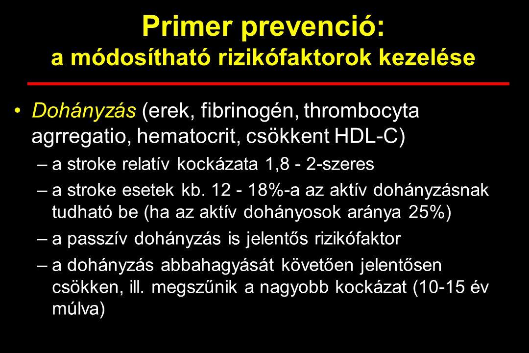 Primer prevenció: a módosítható rizikófaktorok kezelése Dohányzás (erek, fibrinogén, thrombocyta agrregatio, hematocrit, csökkent HDL-C) –a stroke relatív kockázata 1,8 - 2-szeres –a stroke esetek kb.
