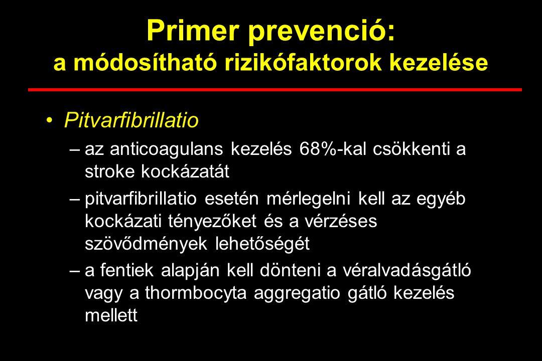 Primer prevenció: a módosítható rizikófaktorok kezelése Pitvarfibrillatio –az anticoagulans kezelés 68%-kal csökkenti a stroke kockázatát –pitvarfibri