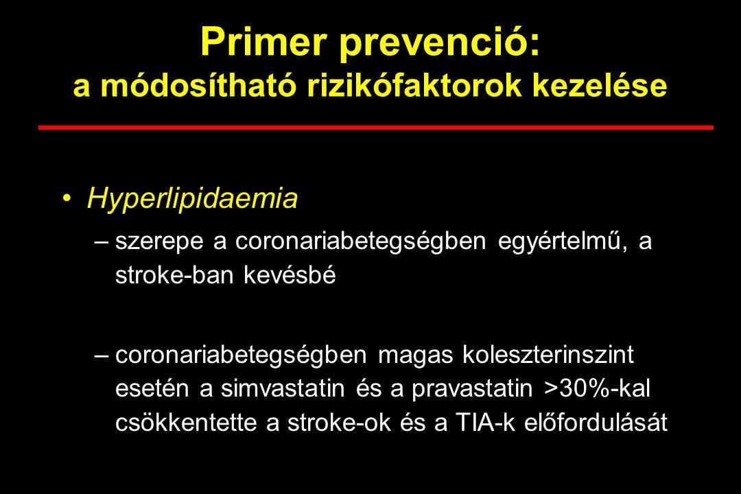 Primer prevenció: a módosítható rizikófaktorok kezelése Hyperlipidaemia –szerepe a coronariabetegségben egyértelmű, a stroke-ban kevésbé –coronariabet