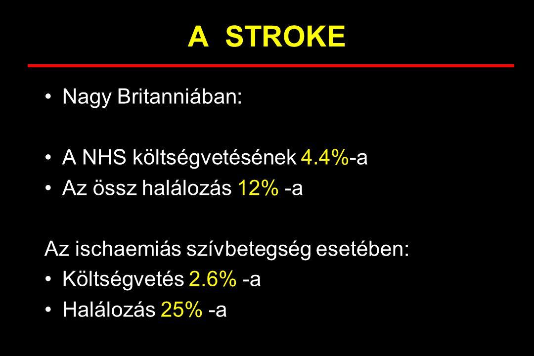 A STROKE Nagy Britanniában: A NHS költségvetésének 4.4%-a Az össz halálozás 12% -a Az ischaemiás szívbetegség esetében: Költségvetés 2.6% -a Halálozás 25% -a