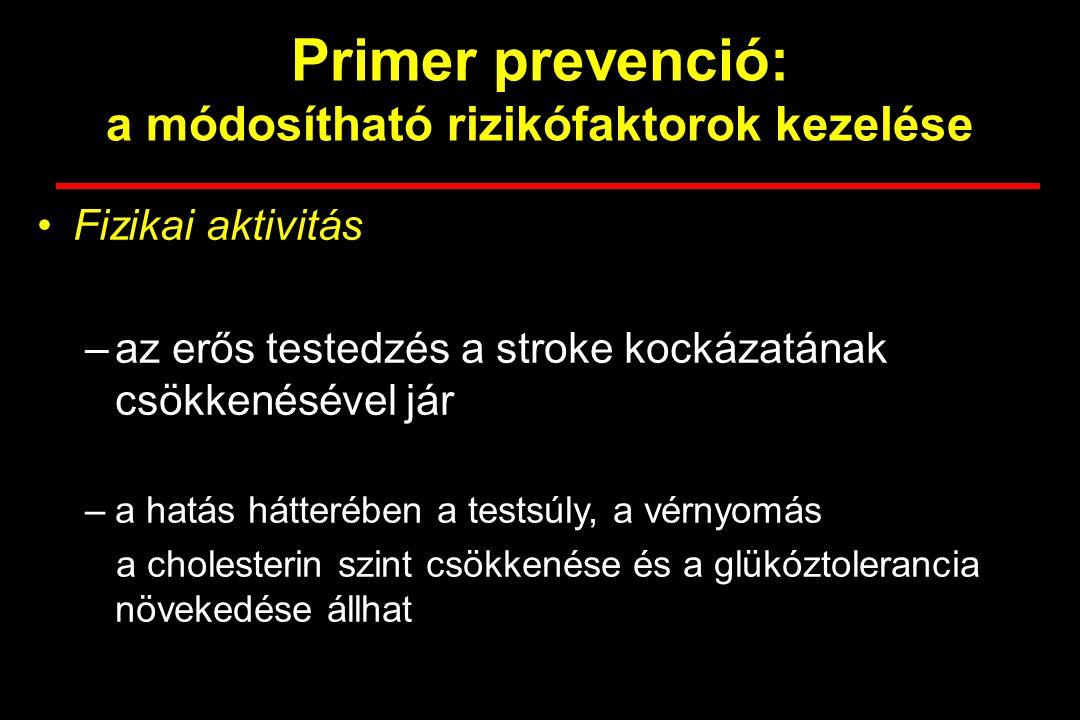 Primer prevenció: a módosítható rizikófaktorok kezelése Fizikai aktivitás –az erős testedzés a stroke kockázatának csökkenésével jár –a hatás hátterében a testsúly, a vérnyomás a cholesterin szint csökkenése és a glükóztolerancia növekedése állhat