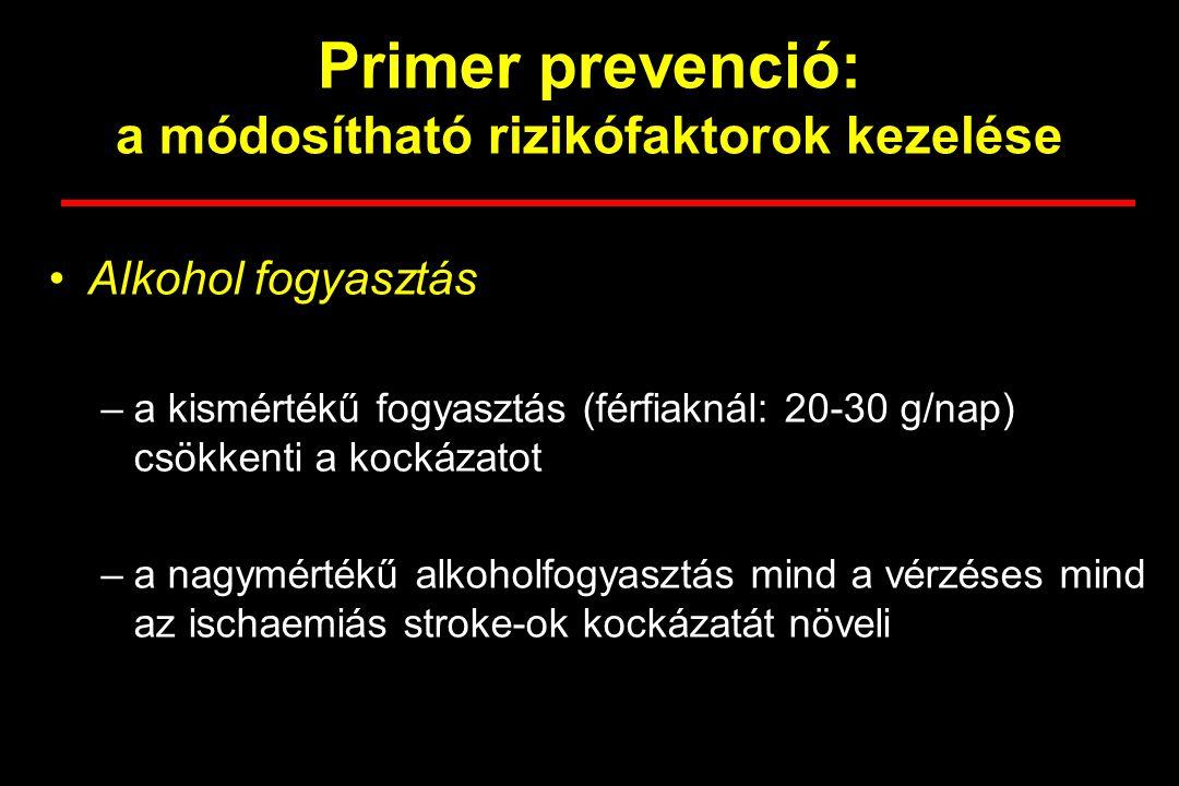 Primer prevenció: a módosítható rizikófaktorok kezelése Alkohol fogyasztás –a kismértékű fogyasztás (férfiaknál: 20-30 g/nap) csökkenti a kockázatot –a nagymértékű alkoholfogyasztás mind a vérzéses mind az ischaemiás stroke-ok kockázatát növeli