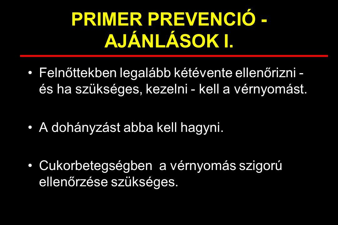 PRIMER PREVENCIÓ - AJÁNLÁSOK I. Felnőttekben legalább kétévente ellenőrizni - és ha szükséges, kezelni - kell a vérnyomást. A dohányzást abba kell hag