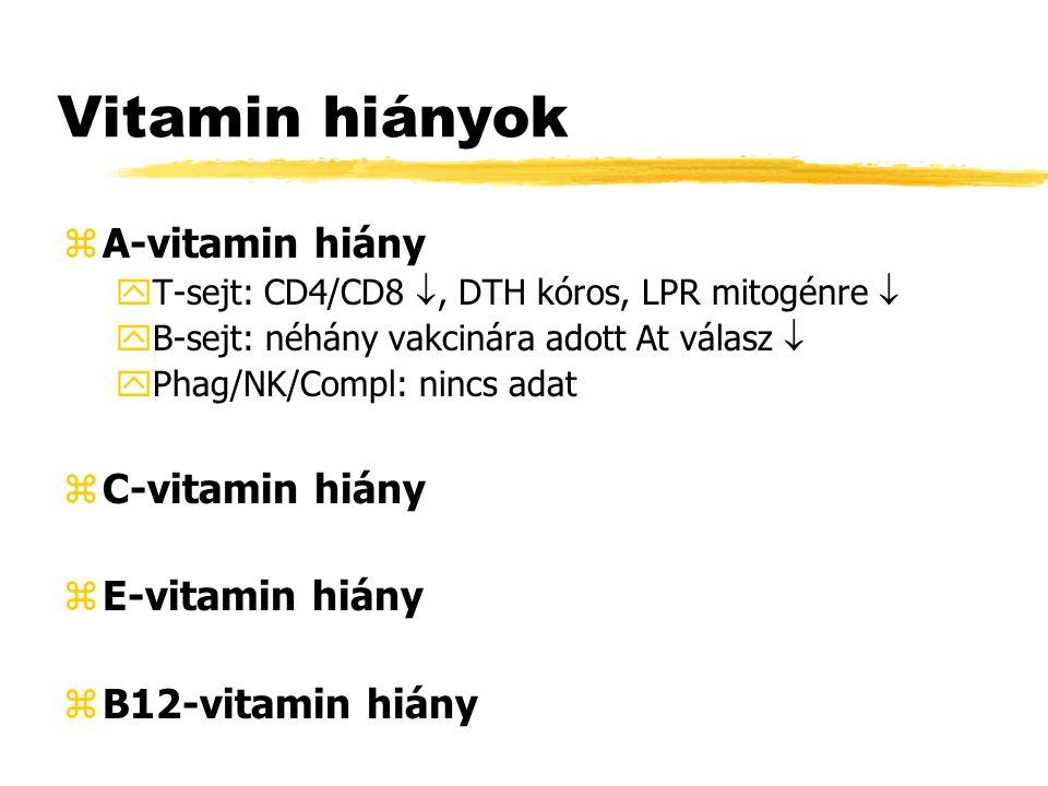 Vitamin hiányok zA-vitamin hiány yT-sejt: CD4/CD8 , DTH kóros, LPR mitogénre  yB-sejt: néhány vakcinára adott At válasz  yPhag/NK/Compl: nincs adat