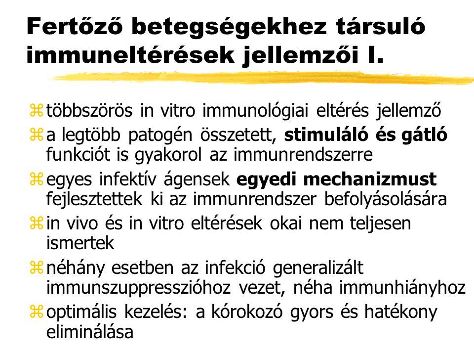 Fertőző betegségekhez társuló immuneltérések jellemzői I. ztöbbszörös in vitro immunológiai eltérés jellemző za legtöbb patogén összetett, stimuláló é