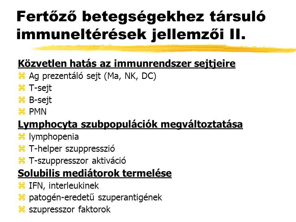 Fertőző betegségekhez társuló immuneltérések jellemzői II. Közvetlen hatás az immunrendszer sejtjeire zAg prezentáló sejt (Ma, NK, DC) zT-sejt zB-sejt