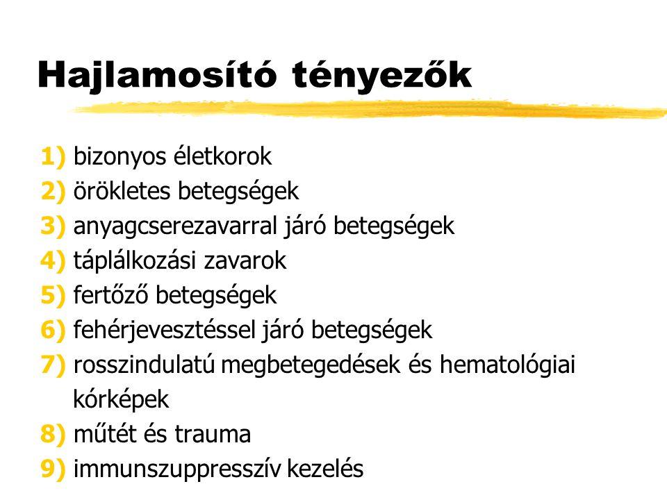 Hajlamosító tényezők 1) bizonyos életkorok 2) örökletes betegségek 3) anyagcserezavarral járó betegségek 4) táplálkozási zavarok 5) fertőző betegségek