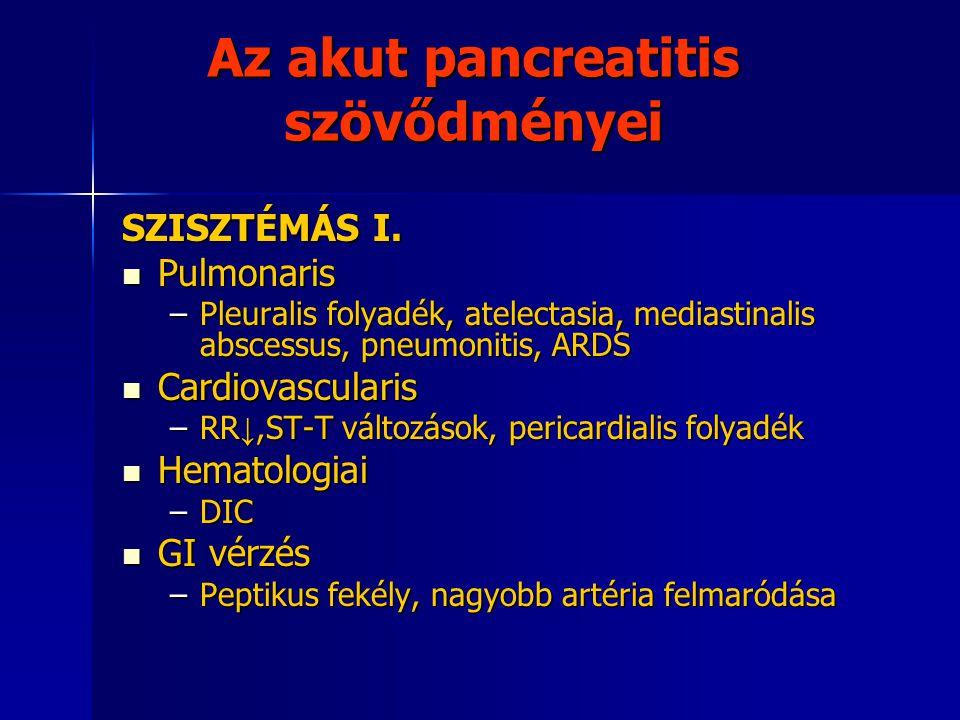 Az akut pancreatitis szövődményei SZISZTÉMÁS I. Pulmonaris Pulmonaris –Pleuralis folyadék, atelectasia, mediastinalis abscessus, pneumonitis, ARDS Car