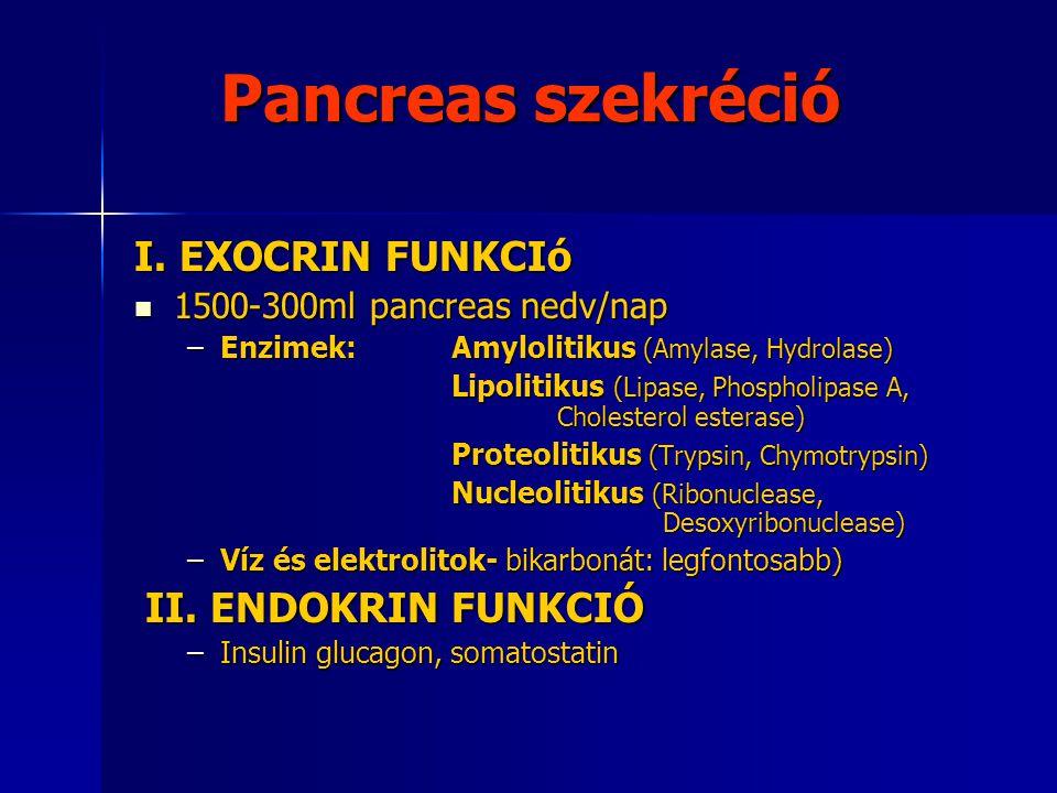 A pancreas szekréció szabályozása Gyomorsav (pH<4.5) → Secretin ↑→ Víz és elektrolitokban gazdag nedv Gyomorsav (pH<4.5) → Secretin ↑→ Víz és elektrolitokban gazdag nedv Hosszú szénláncú zsírsavak, esszenciális aminosavak, gyomorsav → cholecystokinin (CCK) ↑ → enzimdús szekréció Hosszú szénláncú zsírsavak, esszenciális aminosavak, gyomorsav → cholecystokinin (CCK) ↑ → enzimdús szekréció Paraszimpatikus idegrendszer (n.
