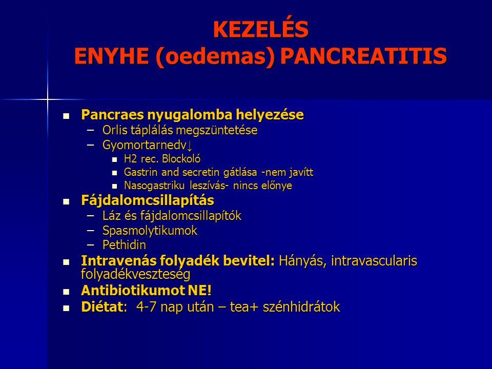 KEZELÉS ENYHE (oedemas) PANCREATITIS Pancraes nyugalomba helyezése Pancraes nyugalomba helyezése –Orlis táplálás megszüntetése –Gyomortarnedv ↓ H2 rec