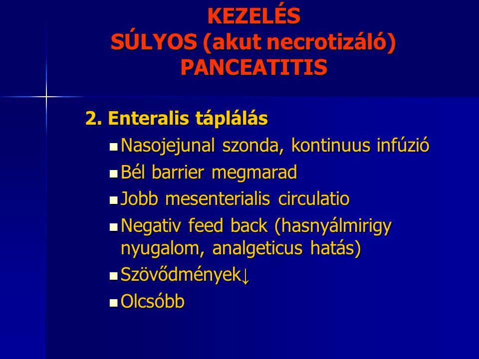KEZELÉS SÚLYOS (akut necrotizáló) PANCEATITIS 2. Enteralis táplálás Nasojejunal szonda, kontinuus infúzió Nasojejunal szonda, kontinuus infúzió Bél ba