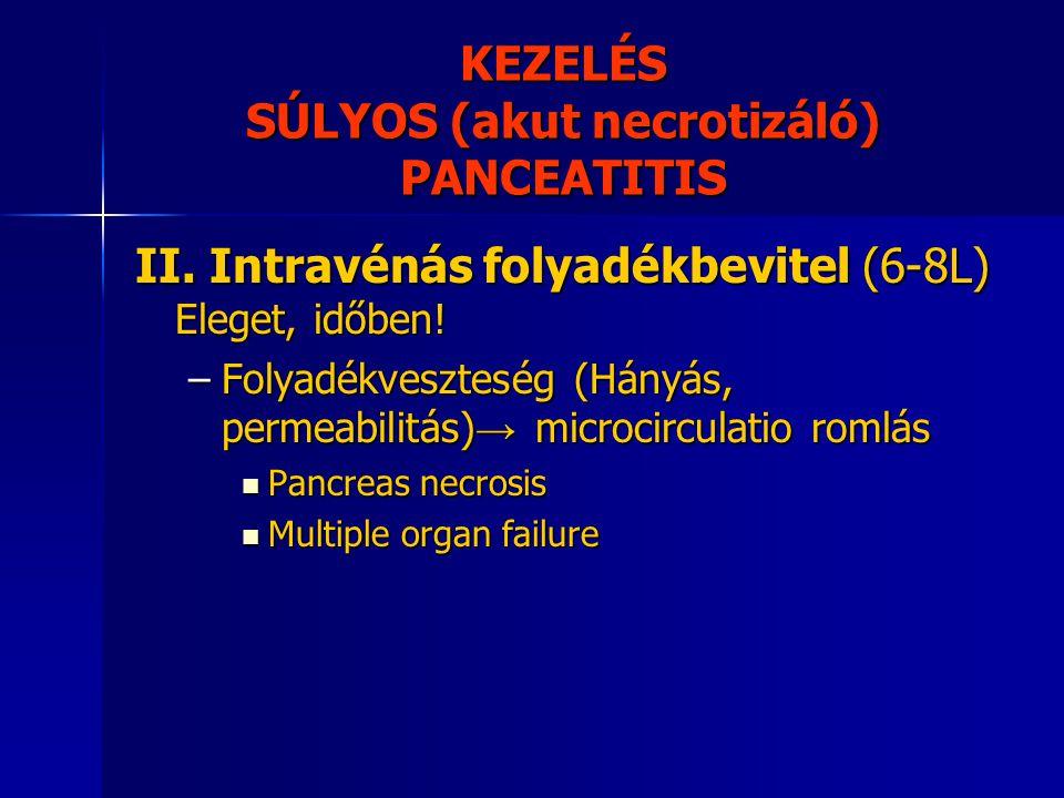 KEZELÉS SÚLYOS (akut necrotizáló) PANCEATITIS II. Intravénás folyadékbevitel (6-8L) Eleget, időben! –Folyadékveszteség (Hányás, permeabilitás) → micro