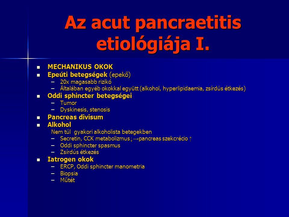 Az acut pancraetitis etiológiája I. MECHANIKUS OKOK MECHANIKUS OKOK Epeúti betegségek (epekő) Epeúti betegségek (epekő) –20x magasabb rizikó –Általába