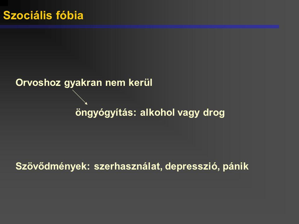 Szociális fóbia Orvoshoz gyakran nem kerül öngyógyítás: alkohol vagy drog Szövődmények: szerhasználat, depresszió, pánik