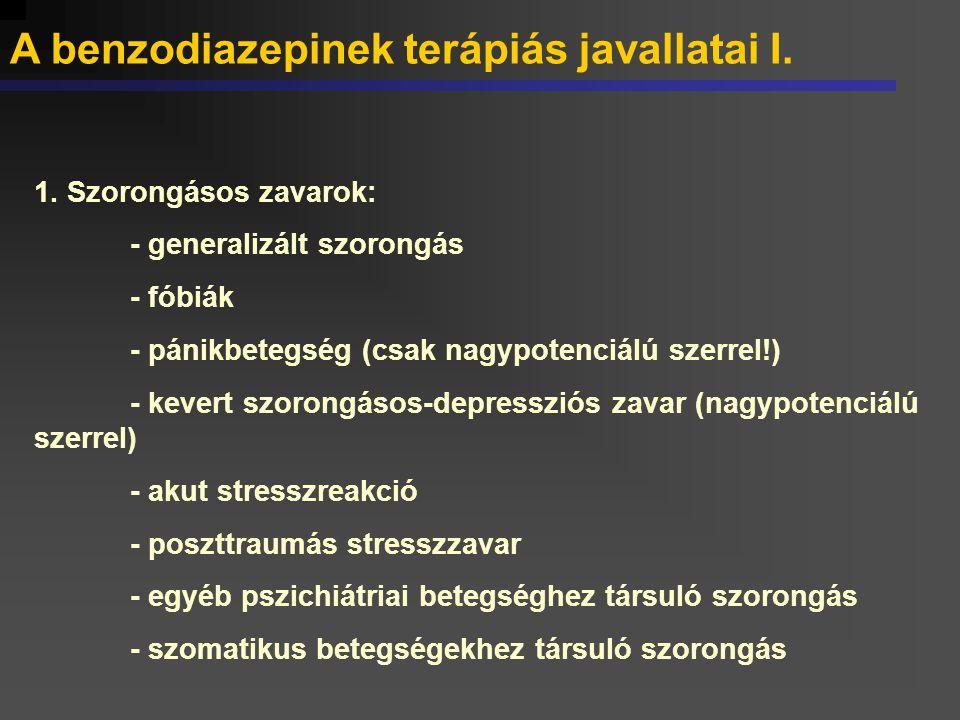 A benzodiazepinek terápiás javallatai I. 1. Szorongásos zavarok: - generalizált szorongás - fóbiák - pánikbetegség (csak nagypotenciálú szerrel!) - ke
