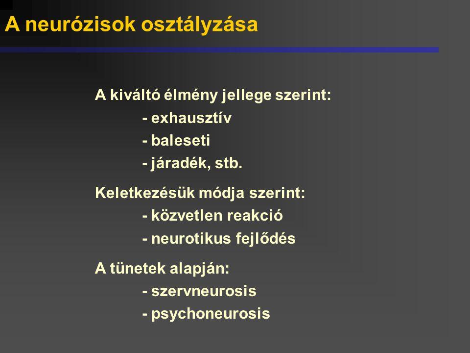 A neurózisok osztályzása A kiváltó élmény jellege szerint: - exhausztív - baleseti - járadék, stb. Keletkezésük módja szerint: - közvetlen reakció - n