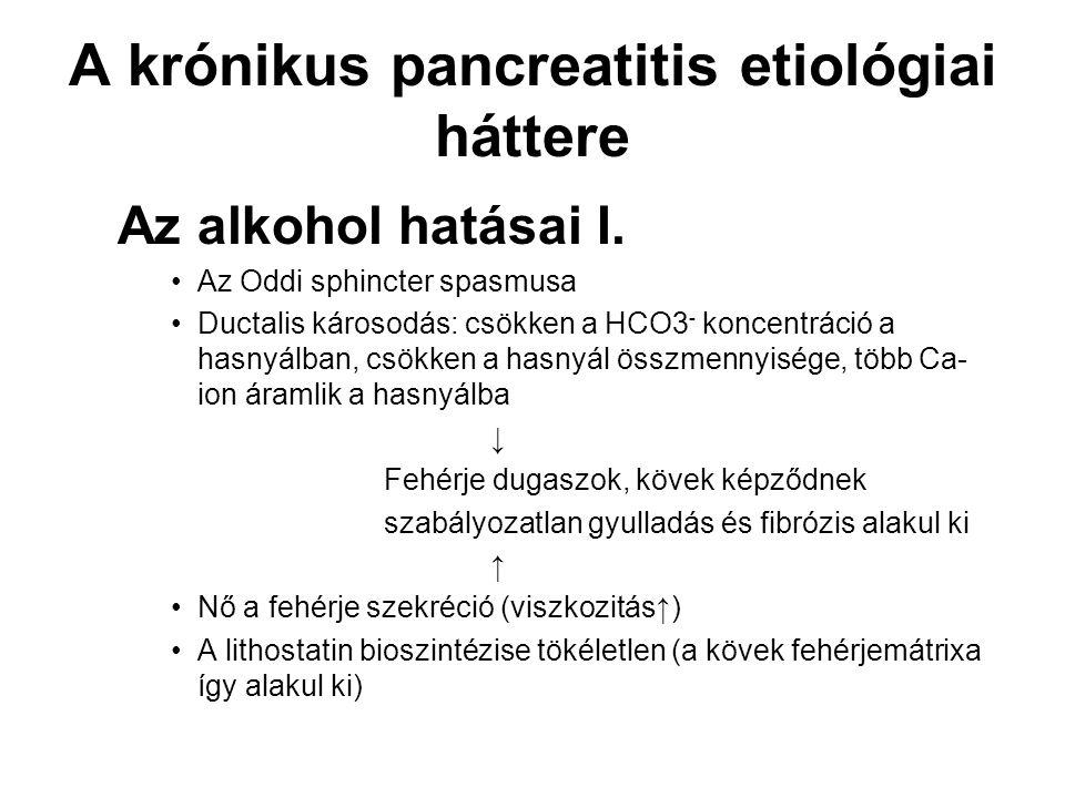 A krónikus pancreatitis etiológiai háttere Az alkohol hatásai I. Az Oddi sphincter spasmusa Ductalis károsodás: csökken a HCO3 - koncentráció a hasnyá