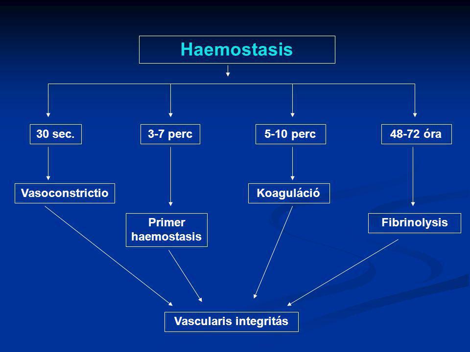 Haemostasis 30 sec.3-7 perc5-10 perc48-72 óra Vasoconstrictio Primer haemostasis Koaguláció Fibrinolysis Vascularis integritás
