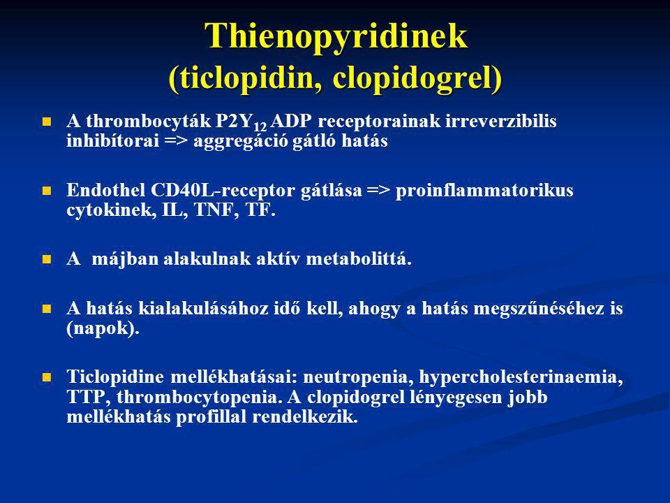 Thienopyridinek (ticlopidin, clopidogrel) A thrombocyták P2Y 12 ADP receptorainak irreverzibilis inhibítorai => aggregáció gátló hatás Endothel CD40L-receptor gátlása => proinflammatorikus cytokinek, IL, TNF, TF.