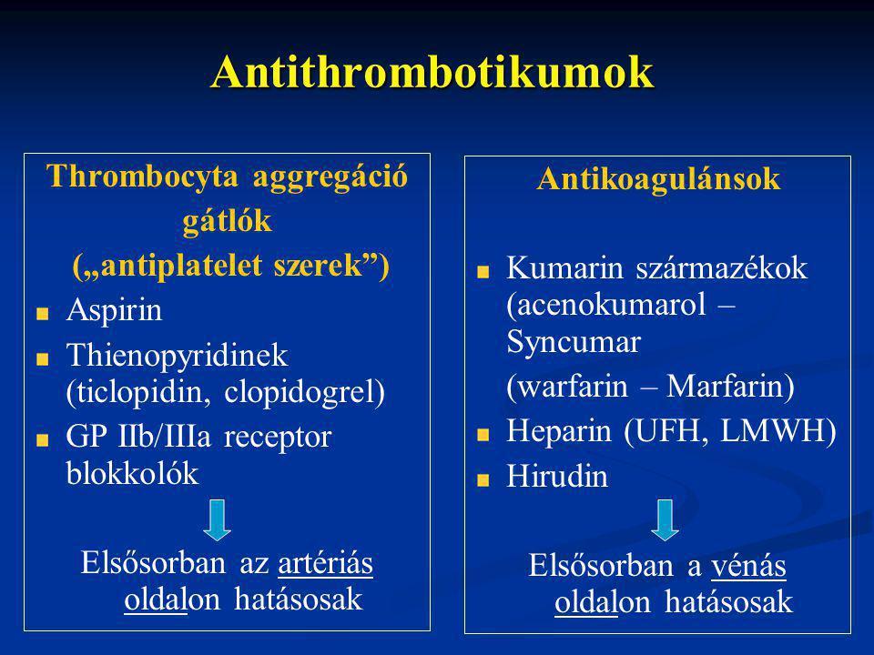 """Antithrombotikumok Thrombocyta aggregáció gátlók (""""antiplatelet szerek ) Aspirin Thienopyridinek (ticlopidin, clopidogrel) GP IIb/IIIa receptor blokkolók Elsősorban az artériás oldalon hatásosak Antikoagulánsok Kumarin származékok (acenokumarol – Syncumar (warfarin – Marfarin) Heparin (UFH, LMWH) Hirudin Elsősorban a vénás oldalon hatásosak"""