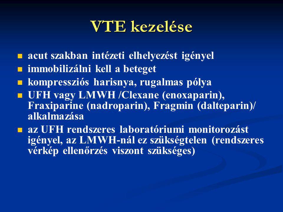 VTE kezelése acut szakban intézeti elhelyezést igényel immobilizálni kell a beteget kompressziós harisnya, rugalmas pólya UFH vagy LMWH /Clexane (enoxaparin), Fraxiparine (nadroparin), Fragmin (dalteparin)/ alkalmazása az UFH rendszeres laboratóriumi monitorozást igényel, az LMWH-nál ez szükségtelen (rendszeres vérkép ellenőrzés viszont szükséges)