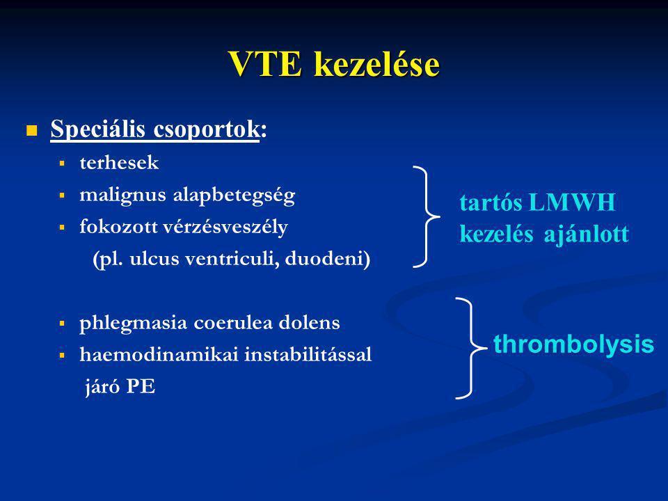 VTE kezelése Speciális csoportok:   terhesek   malignus alapbetegség   fokozott vérzésveszély (pl. ulcus ventriculi, duodeni)   phlegmasia coe