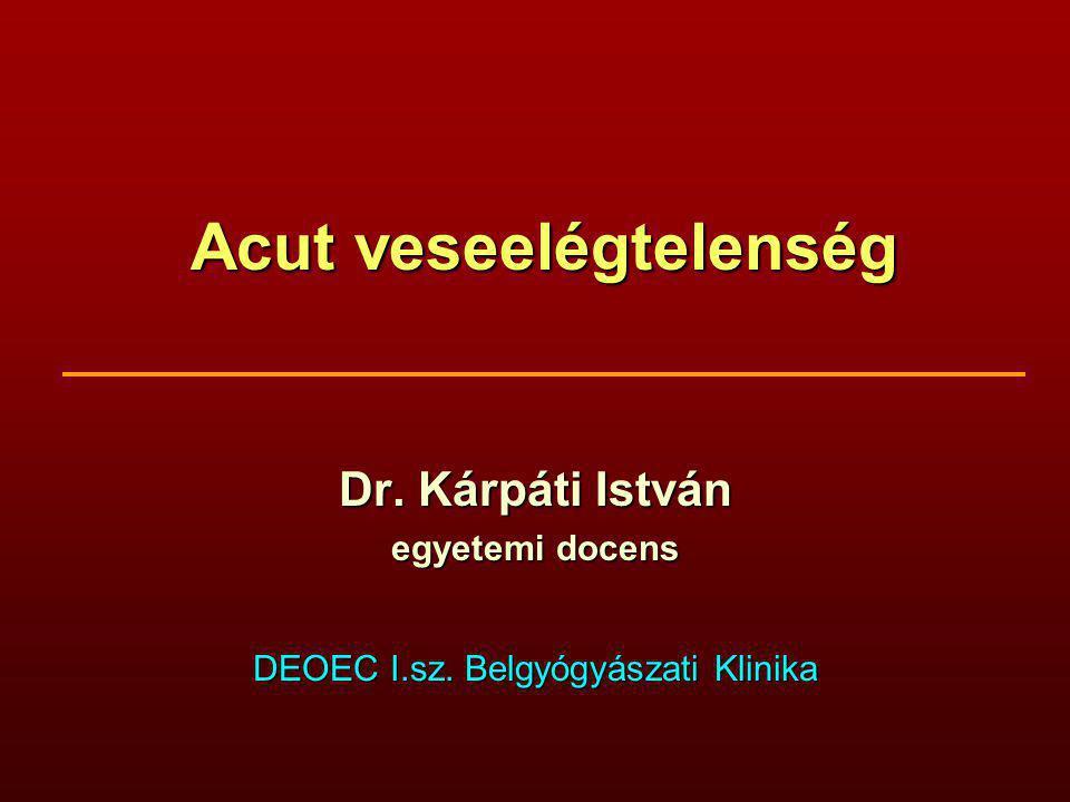 Acut veseelégtelenség Dr. Kárpáti István egyetemi docens DEOEC I.sz. Belgyógyászati Klinika