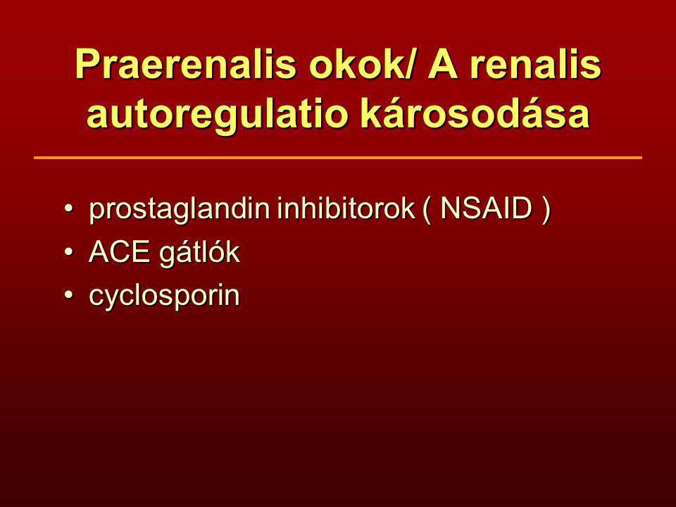 Praerenalis okok/ A renalis autoregulatio károsodása prostaglandin inhibitorok ( NSAID )prostaglandin inhibitorok ( NSAID ) ACE gátlókACE gátlók cyclosporincyclosporin
