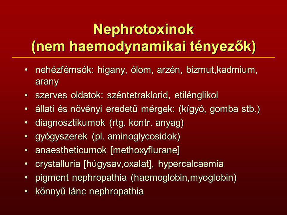 Nephrotoxinok (nem haemodynamikai tényezők) nehézfémsók: higany, ólom, arzén, bizmut,kadmium, aranynehézfémsók: higany, ólom, arzén, bizmut,kadmium, arany szerves oldatok: széntetraklorid, etilénglikolszerves oldatok: széntetraklorid, etilénglikol állati és növényi eredetű mérgek: (kígyó, gomba stb.)állati és növényi eredetű mérgek: (kígyó, gomba stb.) diagnosztikumok (rtg.