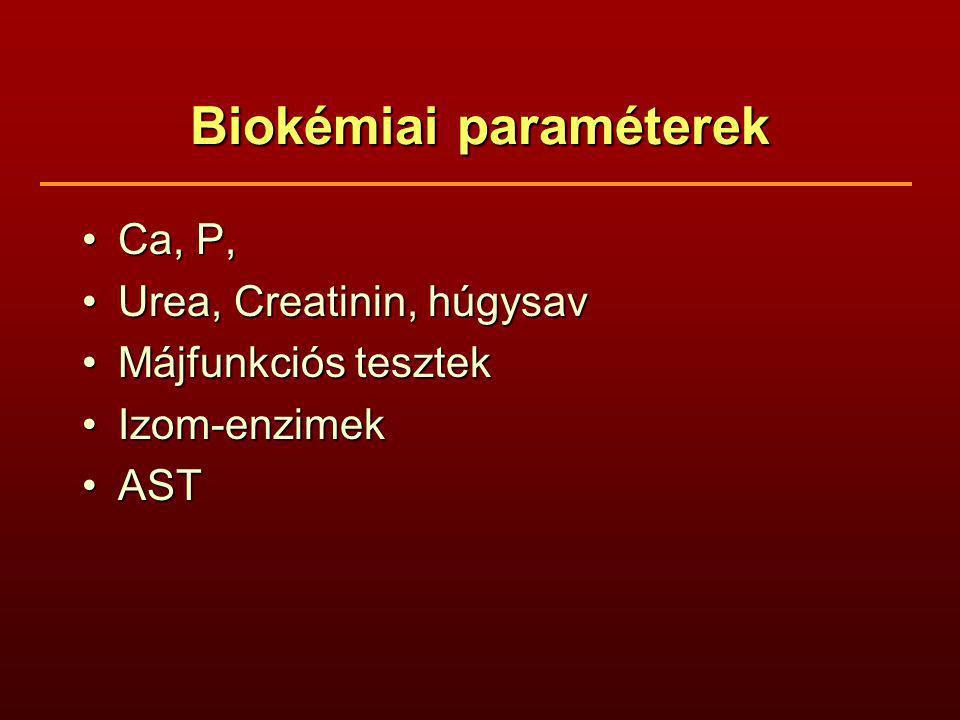 Biokémiai paraméterek Ca, P,Ca, P, Urea, Creatinin, húgysavUrea, Creatinin, húgysav Májfunkciós tesztekMájfunkciós tesztek Izom-enzimekIzom-enzimek ASTAST